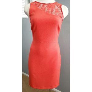 Zara Trafaluc Orange Lace Midi Shift Dress